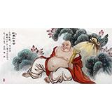 可定制 名家赵金鸰四尺米勒笑佛《和美如意图》(询价)
