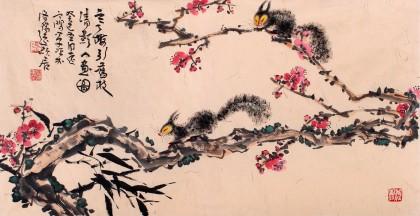 河南著名画家曲逸之三尺梅花松鼠图《寒梅引旧枝》