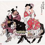 【已售】唐宛四尺斗方钟馗人物画《钟馗嫁妹》