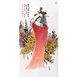 中国美协赵金鸰四尺昭君仕女画《塞外亦闻汉乐声》(询价)