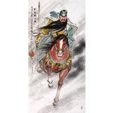 【已售】中国美协赵金鸰四尺关公人物画《武圣雄风图》(询价)