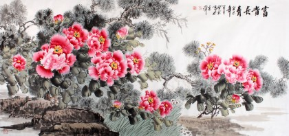 国家一级美术师王宝钦六尺《富贵长青》