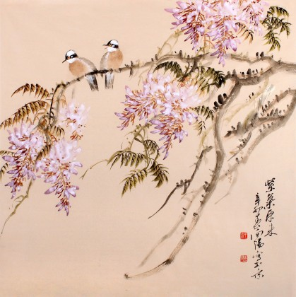 河南美协王向阳四尺斗方紫藤国画《紫气东来》