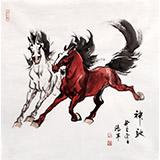 【已售】绥化美协理事徐鸿军四尺斗方国画马《神驰》(询价)