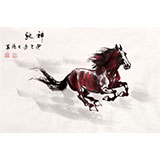 【已售】绥化美协理事徐鸿军四尺三开骏马图《神驰》(询价)