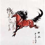 【已售】绥化美协理事徐鸿军四尺斗方神驰奔马图(询价)
