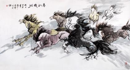 北京美协张春奇六尺八骏图《马到成功》