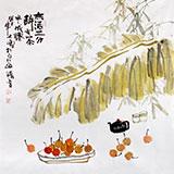【已售】李胜春四尺斗方芭蕉竹子画《有茶半成仙》