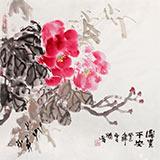 【已售】李胜春三尺斗方竹子牡丹画《富贵平安》
