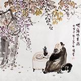 【已售】李胜春四尺斗方趣味国画《喝小酒吃小菜过小日子》