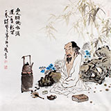 【已售】李胜春四尺斗方水墨人物画《一盏新茶一卷诗》