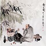 【已售】李胜春四尺斗方芭蕉品茶图《会友图》