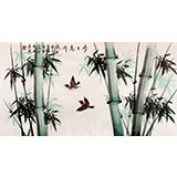 北京美协凌雪三尺竹雀图《步步高升》
