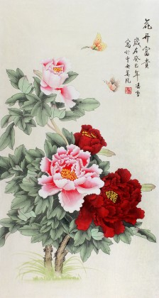 北京美协凌雪三尺牡丹画《花开富贵》