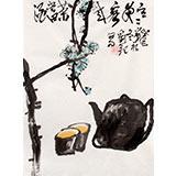 【已售】刘纪小尺寸国画品茶图《寒夜客来茶当酒》