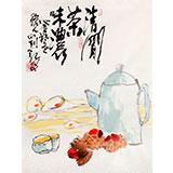 【已售】刘纪 小尺寸精品字画《清香茶味浓》 河南著名老画家
