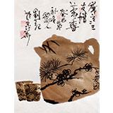 【已售】刘纪小尺寸三友图《岁寒三友增茶香》