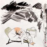 刘纪 三尺斗方芭蕉国画《醉茶图》 河南著名老画家