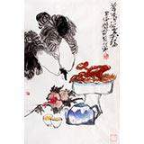 刘纪 四尺三开白菜国画《茶香延寿福》 河南著名老画家