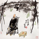 刘纪 三尺斗方人物画《纳凉图》 河南著名老画家