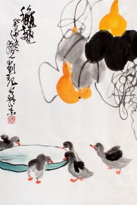 刘纪四尺三开葫芦国画《秋趣》