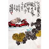 刘纪 四尺三开菊蟹图《共度重阳节》 河南著名老画家