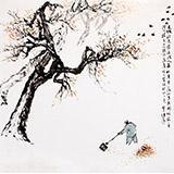 陈漫之四尺斗方国画人物《秋叶晨扫》(询价)