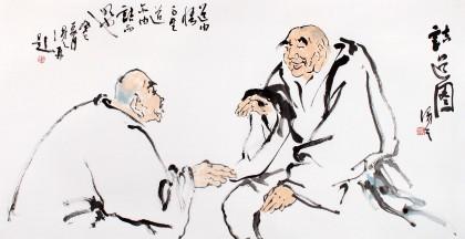 陈漫之精品人物画:紫藤飘香 谈道论趣