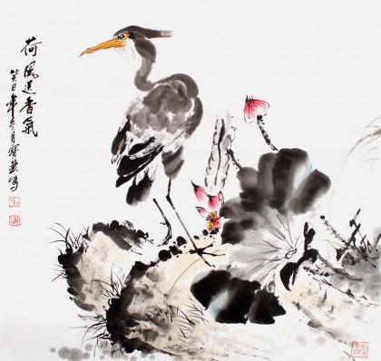 【已售】国家一级美术师王宝钦四尺斗方《荷风送香气》(询价)