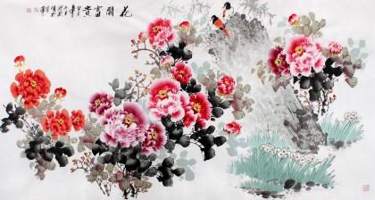国家一级美术师王宝钦六尺《花开富贵》