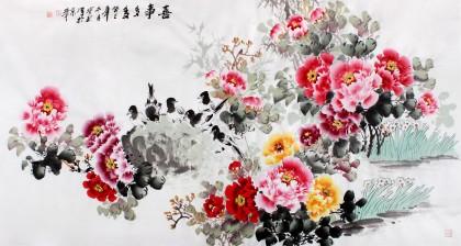国家一级美术师王宝钦六尺《喜事多多》