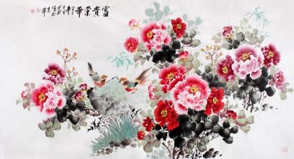 国家一级美术师王宝钦六尺《富贵荣华》