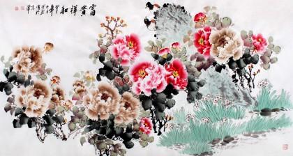 国家一级美术师王宝钦六尺《富贵祥和》