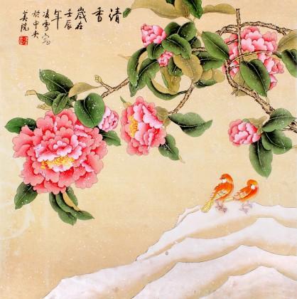 北京美协凌雪四尺斗方花鸟画《清香》