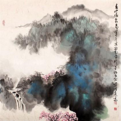贵州七星关美协主席吴显刚四尺斗方泼彩《春山流泉图》