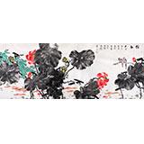 【已售】著名花鸟画家曲逸之小八尺墨荷图《祥和》