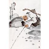 【已售】河北美协郭廷四尺三开垂钓图《秋江钓晚》(询价)