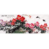 曲逸之 小八尺《春风富贵》 河南省著名花鸟画家