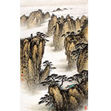 【已售】国家画院刘金河小三尺山水画《黄岳奇观》