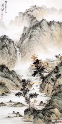 【已售】名家刘金河四尺《青山不老绿水长流》