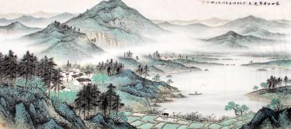 名家刘金河小六尺山水画《家山四月碧连天》