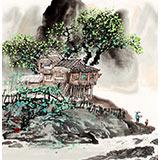 【已售】民盟美协理事黄奇松三尺斗方最新博彩大全《观瀑图》