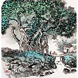 民盟美协理事黄奇松三尺斗方《小桥流水人家》