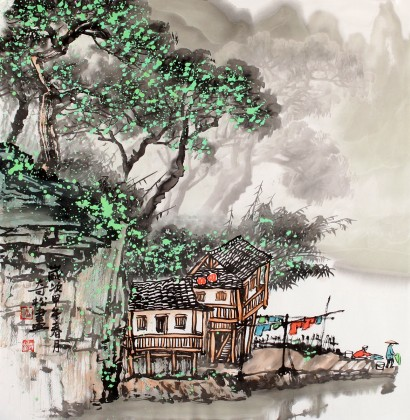民盟美协理事黄奇松三尺斗方《农家乐》 - 写意山水画