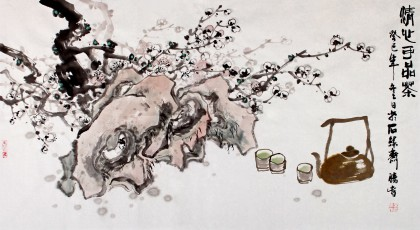 李胜春三尺梅花国画品茶图《清心可品茶》
