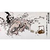 【已售】李胜春三尺梅花国画品茶图《清心可品茶》