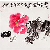 【已售】李胜春三尺斗方牡丹画《好花一朵好茶一壶》