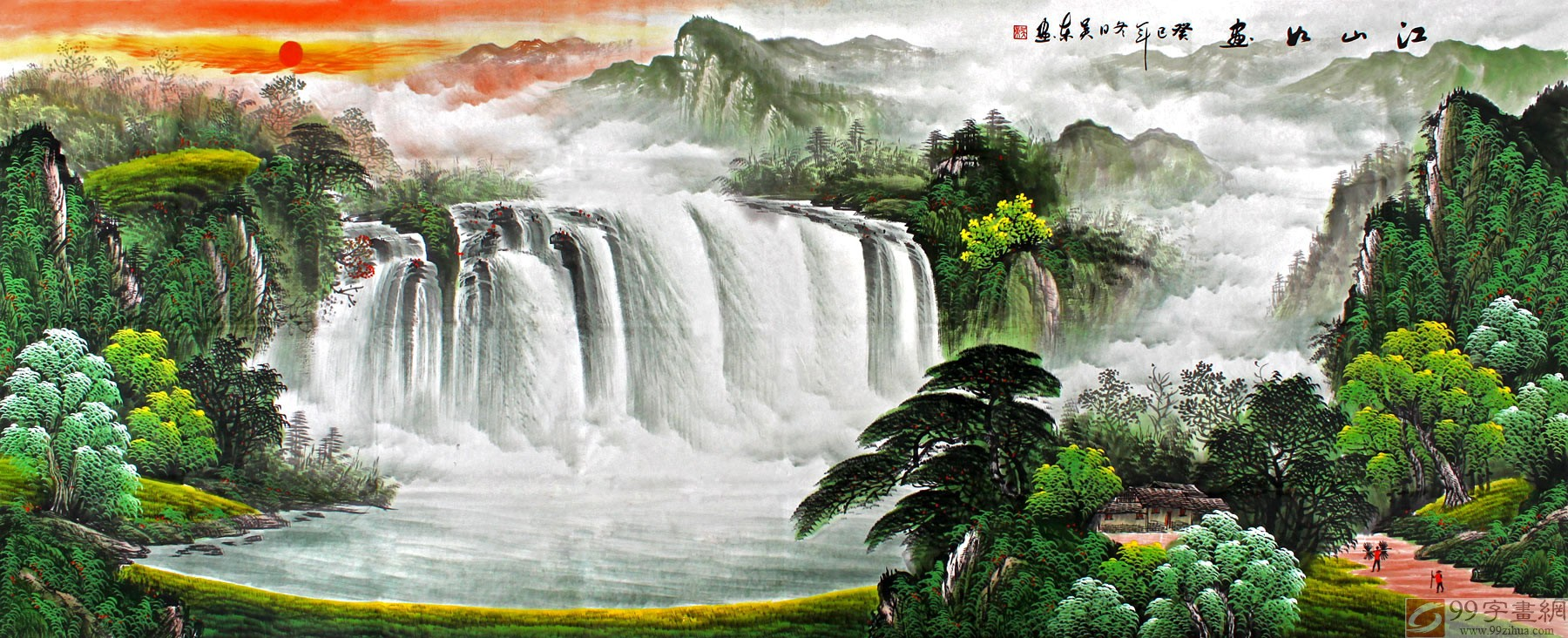 东小八尺聚宝盆风水画 江山如画图片