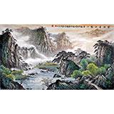 【已售】张慧仁六尺山水国画《家住青山绿水间》