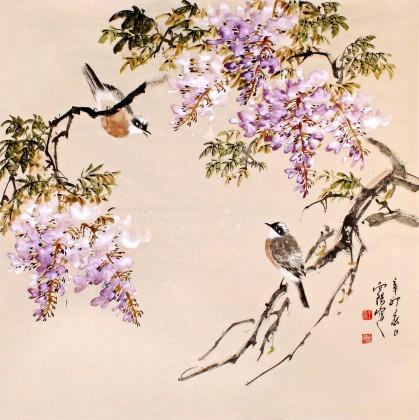 紫藤花手绘写意
